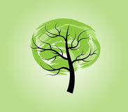 Tree. Solitary tree in grunge style on a light green background Royalty Free Stock Photos