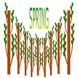 Tree and spring logo. stock illustration