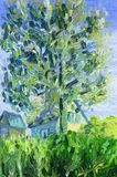 A tree standing on a hill in the village. In the foreground is the garden vegetation. At the back are the houses. Oil painting on canvas vector illustration