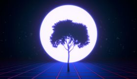 A tree in the virtual space, blue tint stock photography