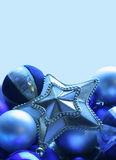 Tree star & baubles. Elegant icy blue & silver tree decorations Stock Images