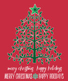 Tree with star topper  and Christmas Message Royalty Free Stock Photos