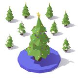 Tree with Star topper. Vector isometric low poly Christmas tree with Star topper Stock Image