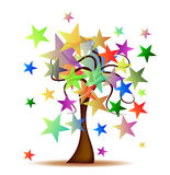 Tree with Stars. Abstract background with colorful stars stock illustration