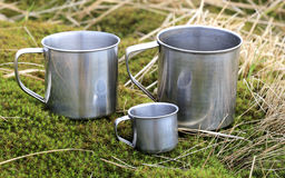 Tree steel cups Royalty Free Stock Photo