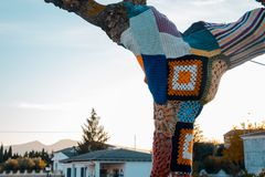 Tree with storm yarn. Sewn with coloured wool, street and creative art. With the blue sky in the background stock photography