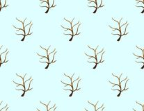 Tree Stripped Bare on Blue Background. Vector Illustration. Royalty Free Stock Image