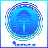 Tree structure corporate hierarchy. Apple tree on whirlpool background. 10 EPS Stock Photos