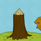 Tree Stump and Beaver Royalty Free Stock Images