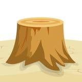 Tree Stump. Cartoon big tree stump with roots stock illustration