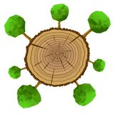 Tree stump and green plant shoots, vector Stock Images