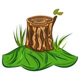 Tree Stump Illustration of a cartoon big tree stump with bench and some blades of grass royalty free illustration