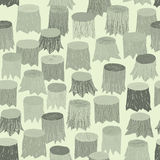 Tree Stump seamless pattern tapestry in grey Stock Image