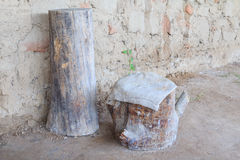 Tree stump for sitting in bronze century Royalty Free Stock Image