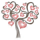 Tree with stylised red hearts. Isolated on the white background, Valentine vector illustration Stock Images