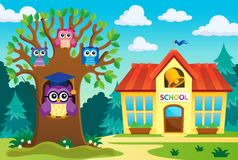 Tree with stylized school owl theme 6 Royalty Free Stock Images