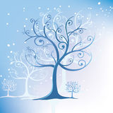 Tree stylized in winter swirls Royalty Free Stock Photos