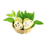 Tree Sugar Apple and leaves in basket Stock Photo