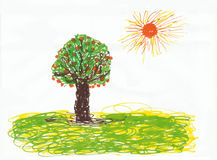 Tree and sun childlike. Tree and sun on a white background childlike Stock Photo