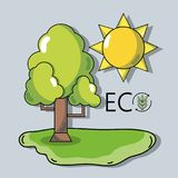 Tree with sun to ecology protection and conservation. Vector illustration Stock Images