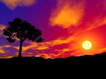 Tree on sunset. Silhouette of a be single tree on sunset in rocky locality vector illustration