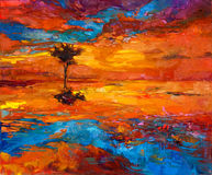 Tree on sunset. Original oil painting of abstract lonely tree in front of golden sunset  on canvas.Modern Impressionism Stock Photos
