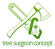Tree Surgeon Axe and Cainsaw Concept Stock Photo