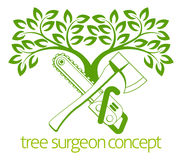 Tree Surgeon Axe and Cainsaw Design Stock Photos
