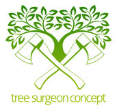 Tree Surgeon Axes and Tree Design. A crossed axes and tree Tree Surgeon or gardener concept design Royalty Free Stock Photography