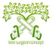 Tree Surgeon Cainsaws and Tree Design Royalty Free Stock Image