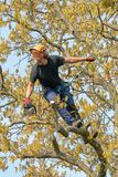 Tree Surgeon holding a chain saw royalty free stock photography