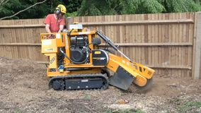 Tree Surgeon using a stump grinder stock video
