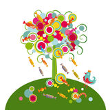 Tree with sweets. Decorative tree with circles and sweets with a little bird Royalty Free Stock Photo