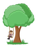 Tree Swing Cartoon Vector Royalty Free Stock Image