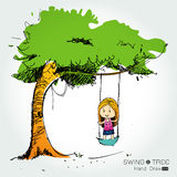 Tree with swing hand draw Royalty Free Stock Images