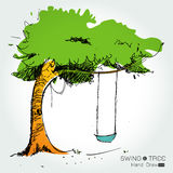 Tree with swing hand draw Stock Photo