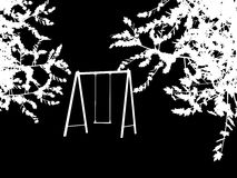 Tree with a swing on night stars sky Vector Stock Photography