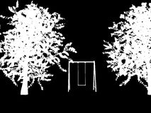 Tree with a swing on night stars sky Vector Stock Image
