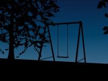 Tree with a swing on night stars sky Vector Stock Photos