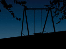 Tree with a swing on night stars sky Vector Royalty Free Stock Images