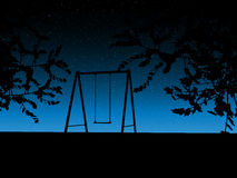 Tree with a swing on night stars sky Vector Royalty Free Stock Photography