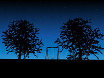 Tree with a swing on night stars sky Vector Royalty Free Stock Photos