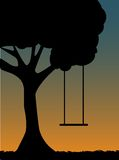 Tree Swing Silhouette at dusk. Outlined silhouette of single swing against blue and orange sky editable illustration stock illustration