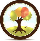 Tree and swings. Beautiful tree illustration with swings. Round landscape icon Stock Photos