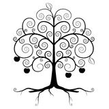 Tree Symbol - Abstract Vector Tree Silhouette. Isolated on White Background - Curled Tree with Roots and Apples stock illustration