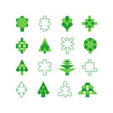 Tree symbol. Tree icon. Vector set of  silhouettes of green trees. Geometric shapes of trees on the white background Royalty Free Stock Images