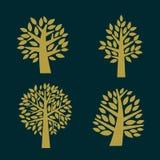 Tree symbol isolated on dark background,  illustration. Set of gold Tree symbol isolated on dark background,  illustration Stock Photography