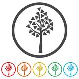 Tree symbol, Tree icon, 6 Colors Included. Simple vector icons set Stock Images
