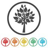 Tree symbol, Tree icon, 6 Colors Included. Simple vector icons set Stock Photo
