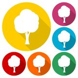 Tree symbol, Tree icons set with long shadow. Vector icon Stock Photo